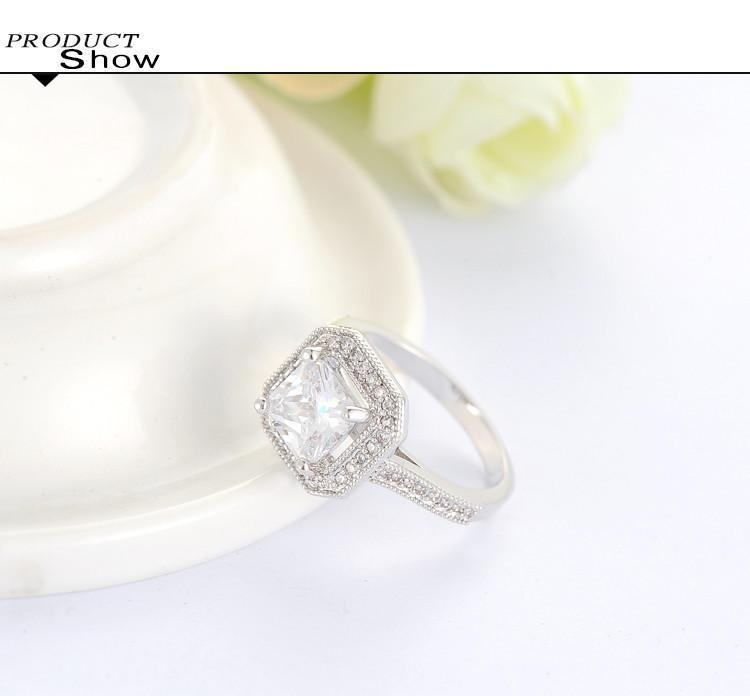 White Gold plated Classic Square Shaped Cubic Zirconia with micro Cluster Setting Engagement Ring anel feminino CRI0260-SheSimplyShops