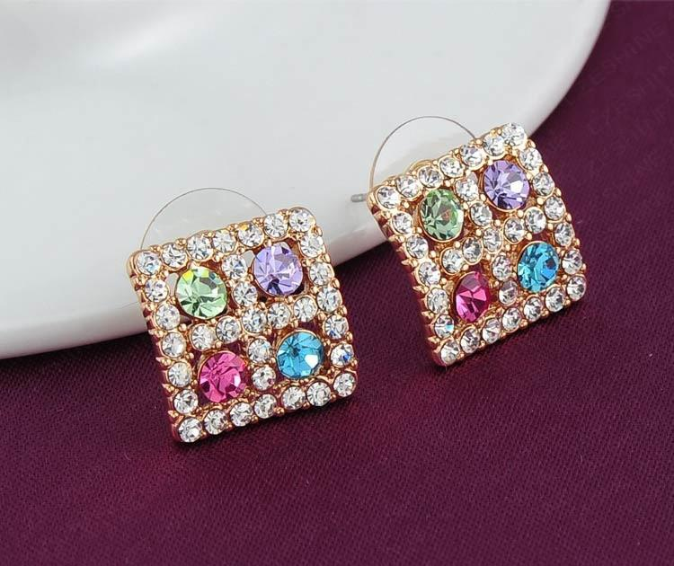 LZESHINE Colourful Austrian Crystal Square Earrings Studs Fashion Women Earring Party Jewelry 15*15mm ER0059-C-EARRINGS-SheSimplyShops