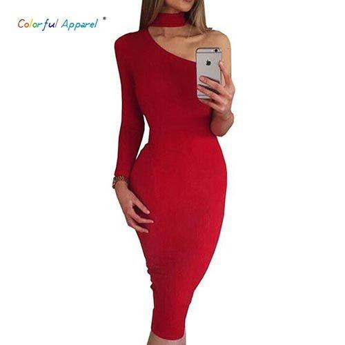 Colorful Apparel Autumn One Shoulder Irregular Sexy Party Club Dresses Midi Black White Red Elegant women's Dress CA527-Dress-SheSimplyShops