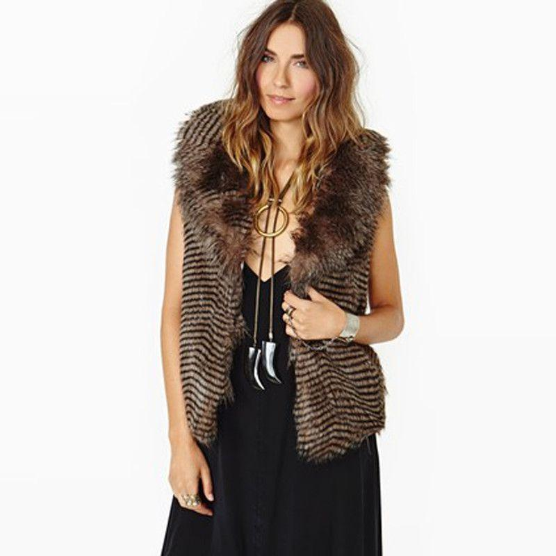 Brown Fashion Vests Women Sleeveless Turn-down Collar Female Outwear Loose Casual Wavy Striped Faux Fur Coat-Coats & Jackets-SheSimplyShops