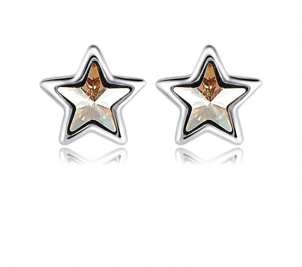 LZESHINE Brand Twinkle Star Earrings Accessories Hip Hop Earrings SWA Elements Crystal Stud Earrings-EARRINGS-SheSimplyShops