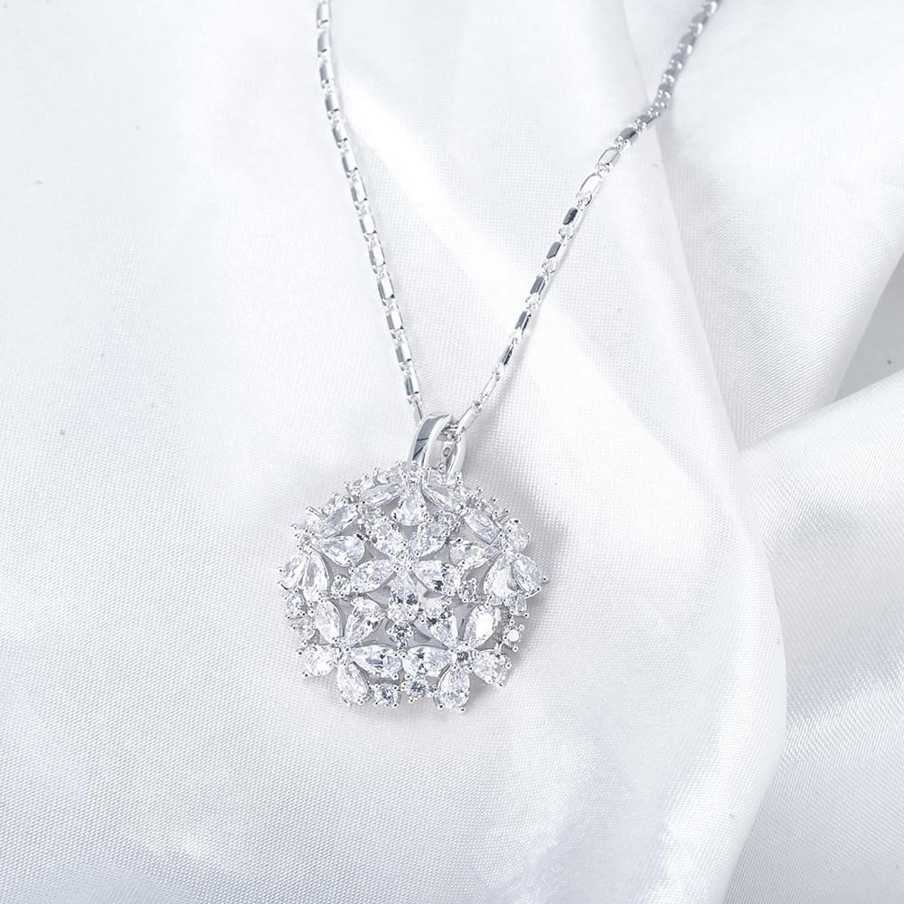 Flower Jewelry Sets Silver Plated Created Diamond Inlayed Bridal Women Jewelry Pendants/Earrings /Ring Set-EARRINGS-SheSimplyShops