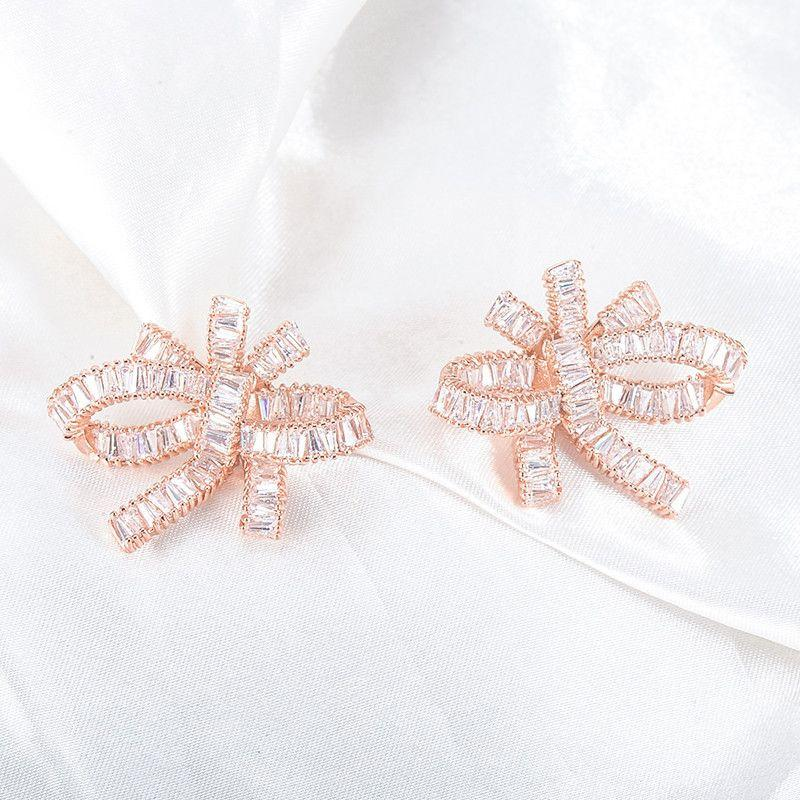 Big Exaggerated Bow Shaped Earrings Stud Rose Gold Plated with AAA Cubic Zirconia Bride Jewelry Earrings-EARRINGS-SheSimplyShops
