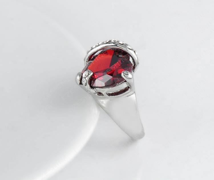 LZESHINE Fashion Heart Ring Simple Design Love Rings Silver Plated Red Austrian Crystal Finger Ring For Women Ri-HQ0357-SheSimplyShops