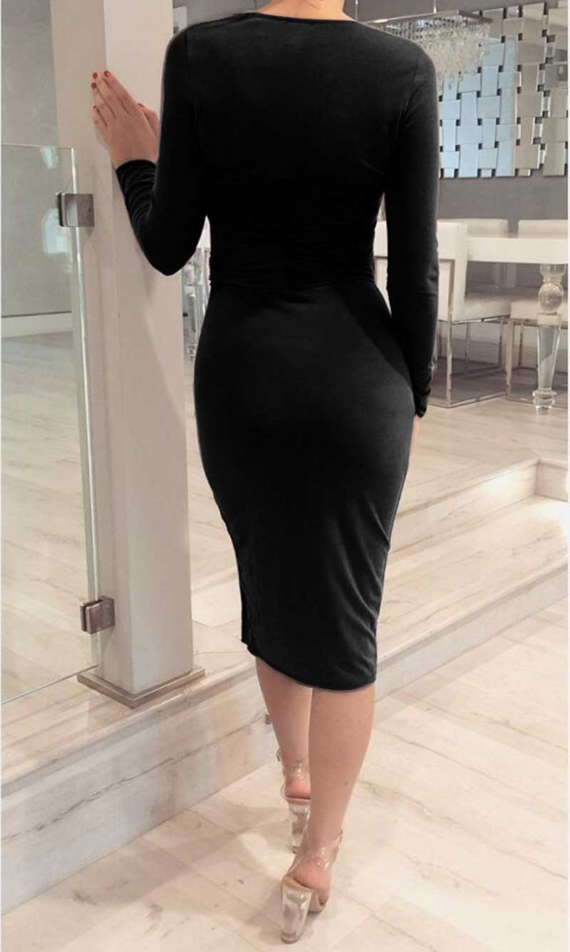 Keyhole O Neck Long Sleeve Slit Knee-Length Waist Belt Women's Bodycon Dress Club Evening Party Sexy Dress-Dress-SheSimplyShops