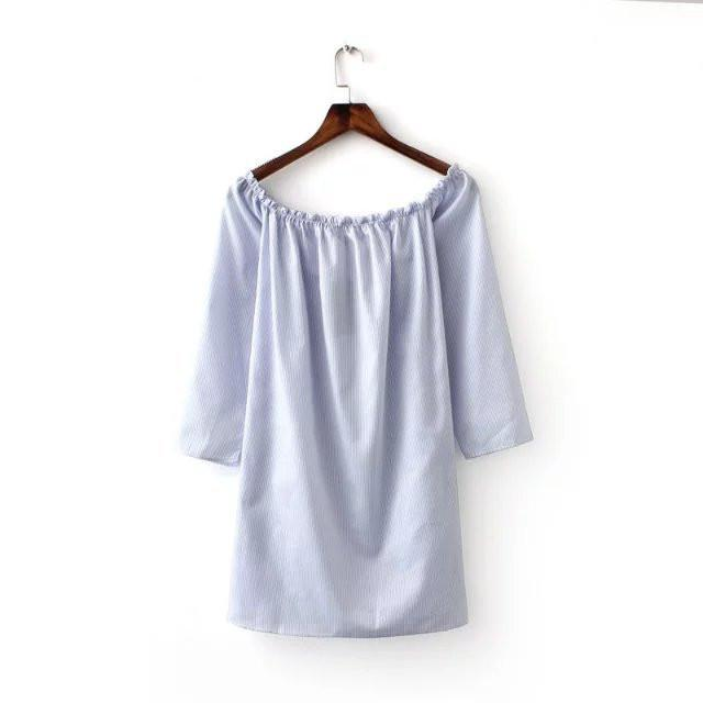 Summer new women's three quarter sleeve slash neck off shoulder blouse long shirt blue striped white real photo-Blouse-SheSimplyShops