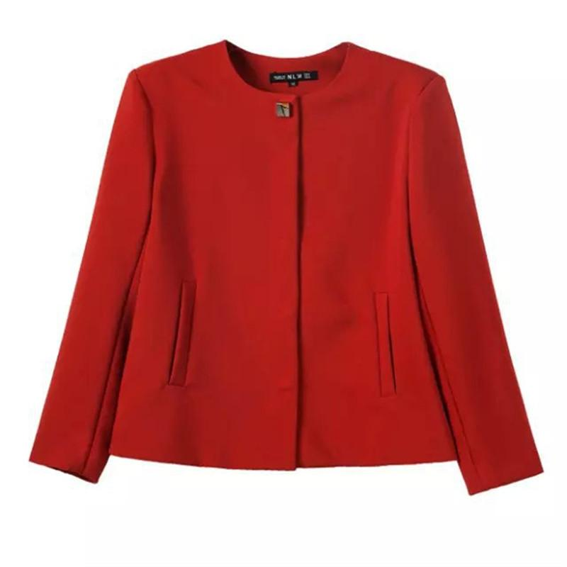 autumn winter new simple style round neck crepe women casual jacket coat red black white-Coats & Jackets-SheSimplyShops