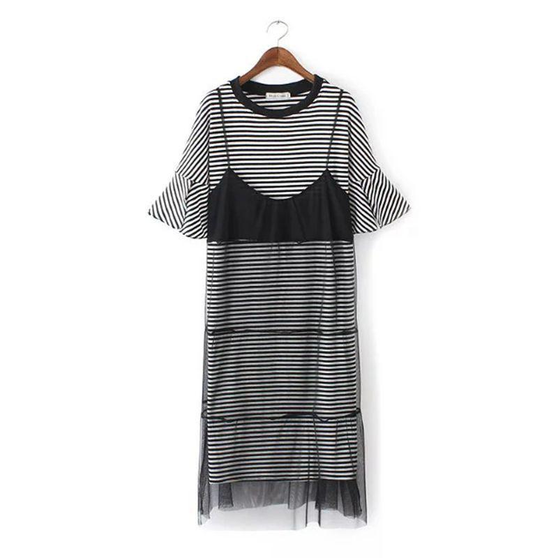 New summer women's striped yarn two pieces vest O-neck short sleeve long dress-Dress-SheSimplyShops
