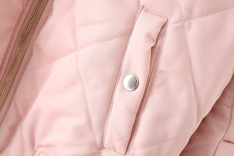 New women's fashion zipper long sleeve stand collar padded bomber jacket black green pink-Coats & Jackets-SheSimplyShops