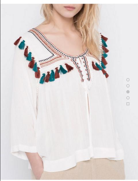 Spring summer new women's ethnic embroidery lace patchwork tassel pendant jackets white-Coats & Jackets-SheSimplyShops