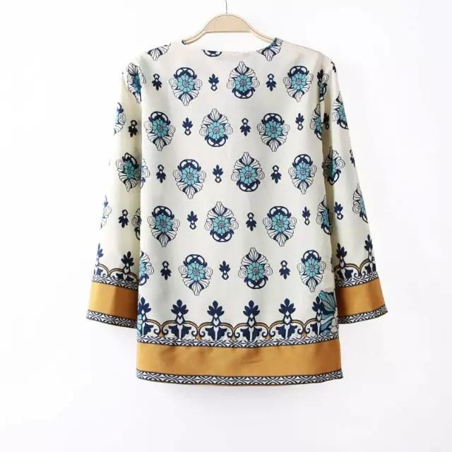 Spring summer ethnic styles floral positioning print long sleeve pull over blouse shirt-Blouse-SheSimplyShops