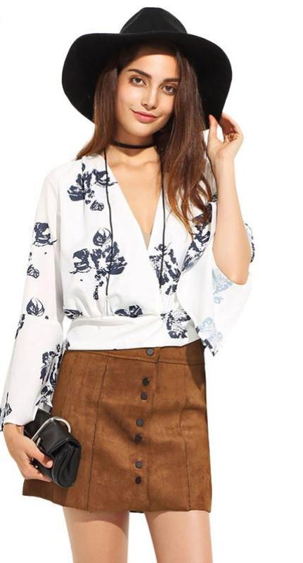 HDY Haoduoyi Summer Fashion Womens Floral Print V-Neck Sexy Slim Femininas T-shirt Long Sleeve Loose Plus Size Top Tees-SHIRTS-SheSimplyShops