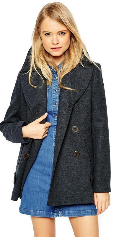 HDY Haoduoyi Autumn Fashion Women Sweet Vintage Solid 2 Colors Mix Woolen Coat Lapel Double Breasted Casual Trench Coat-Coats & Jackets-SheSimplyShops