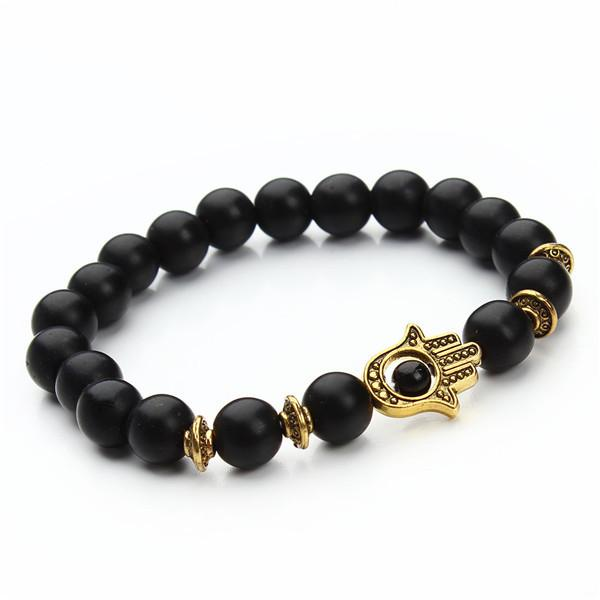 Natural Stone Black Lava Beads Gold Plated Hamsa Hand Charm Energy Yoga Mala Men Bracelet-BRACELETS-SheSimplyShops