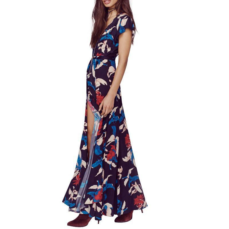 HDY Haoduoyi Women Autumn Fashion Floral Print Tie Waist Loose Dress Sexy Deep V-Neck Short Sleeve Front Split Maxi Dress-Dress-SheSimplyShops
