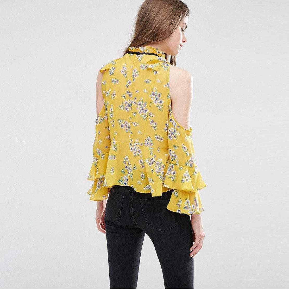 HDY Haoduoyi Autumn Women Fashion Vintage Floral Print Blouse Sexy Cold Shoulder Wraps Office Lady Slim Frill Sleeve Blouse-Blouse-SheSimplyShops