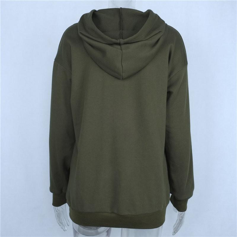 HDY Haoduoyi Autumn Fashion Women Solid Army Green Holes Hoodies Long Sleeve Pocket Casual Drawstring Pullover Sweatshirt-HOODIES-SheSimplyShops