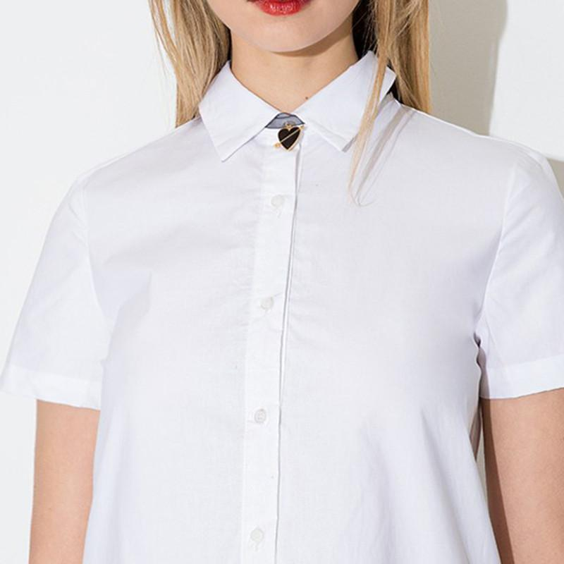 Summer Women Fashion Single Breasted Short Sleeve Ruched A-line Dress Turn-down Collar Solid White Dress-Dress-SheSimplyShops