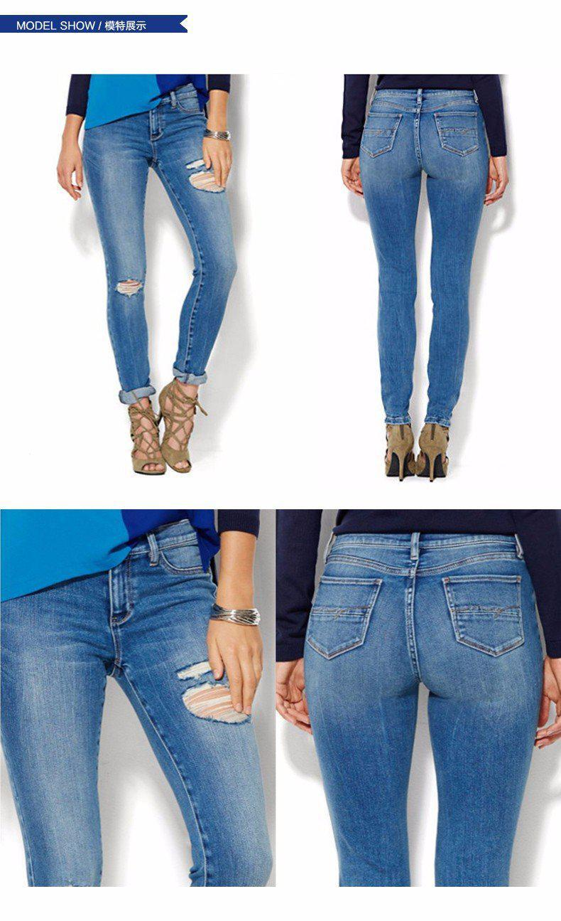 spring high waist jeans women plus size tight denim pants female holes blue jeans ripped trousers-JEANS-SheSimplyShops