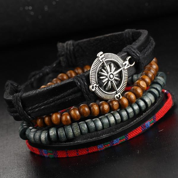 Rock Leather Jewelry Wood Bead Vintage Punk Bracelet-BRACELETS-SheSimplyShops