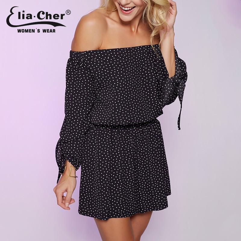 Women Fashion Dot Print Full Sleeve Jumpsuits Women OFF THE shoulder-ROMPERS & JUMPSUITS-SheSimplyShops