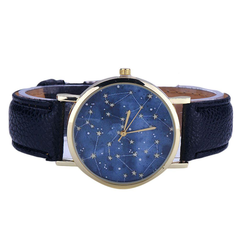Cheap Watches For Women Fashion Night Stars Pattern Quartz Watch Mens Faux Leather Strap Wristwatch Male Clock Relogio Hours-WATCHES-SheSimplyShops