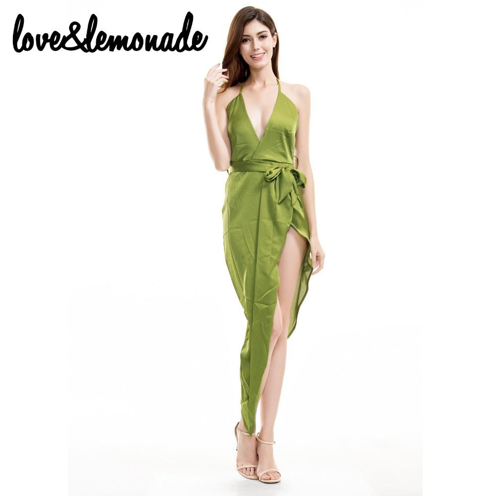 Sexy Green V-Neck Asymmetrical Party Dress-Dress-SheSimplyShops