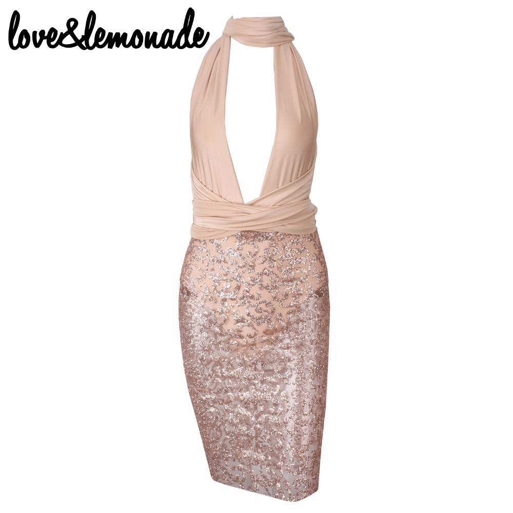Sexy V-Neck Beaded Party Dress Nude-Dress-SheSimplyShops