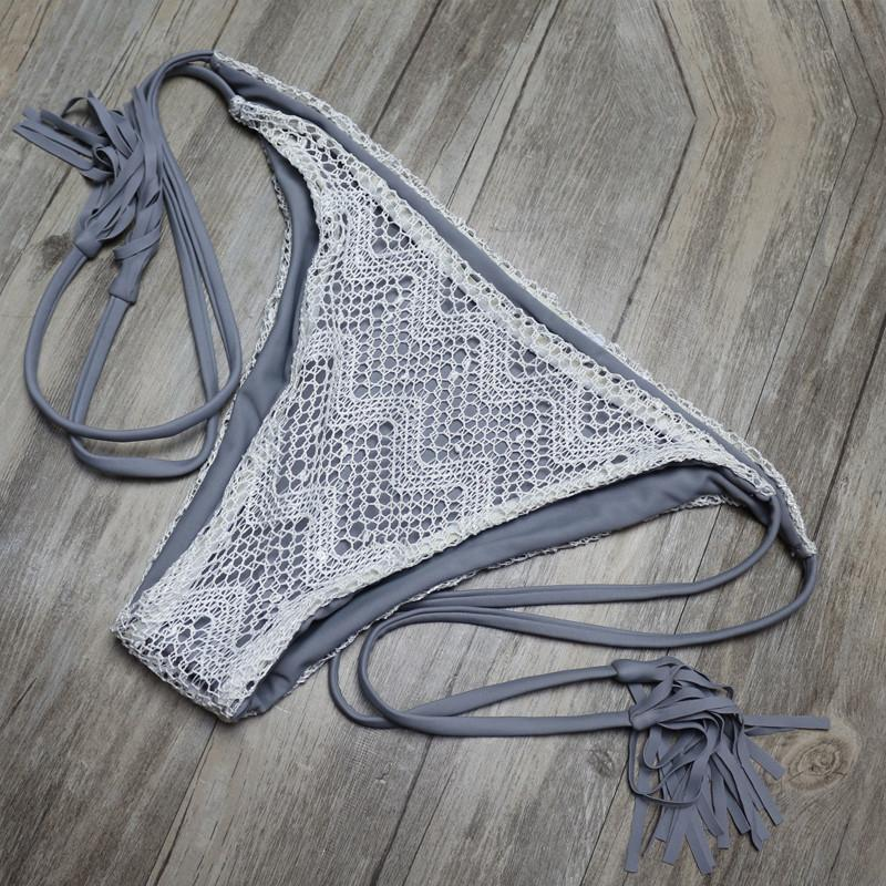 Sexy Crochet Lace Fringe Biquini Micro String Halter Swimsuit-SWIMWEAR-SheSimplyShops