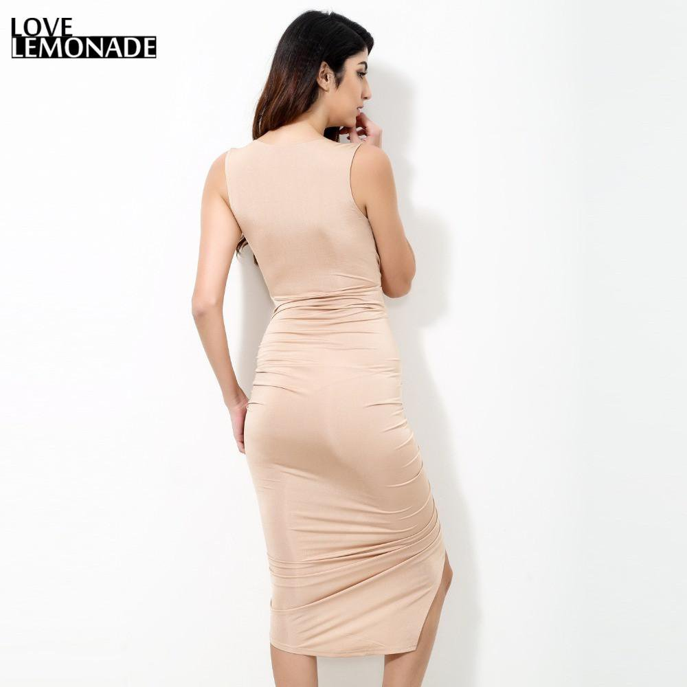 Sexy V-Neck Folds Slim Zipper Party Dress-Dress-SheSimplyShops