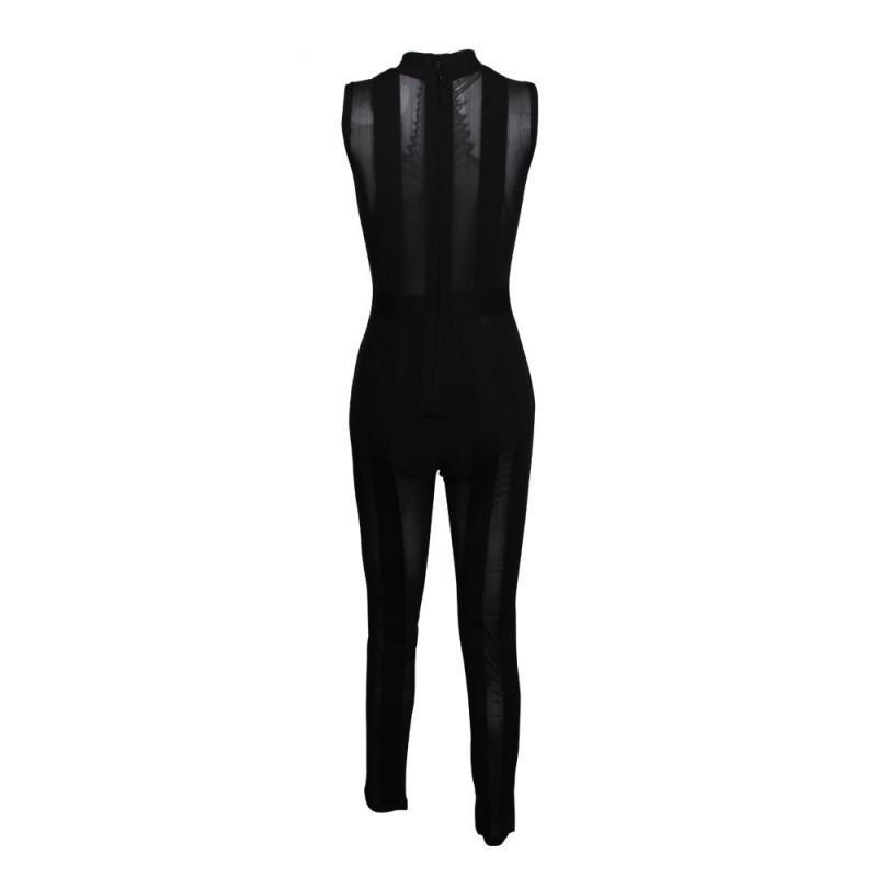 WINTER HOT BRAND NEW SLEEVELESS MESH FASHION SEXY PARTY BANDAGE WOMEN FULL LENGTH ROMPERS JUMPSUIT-ROMPERS & JUMPSUITS-SheSimplyShops