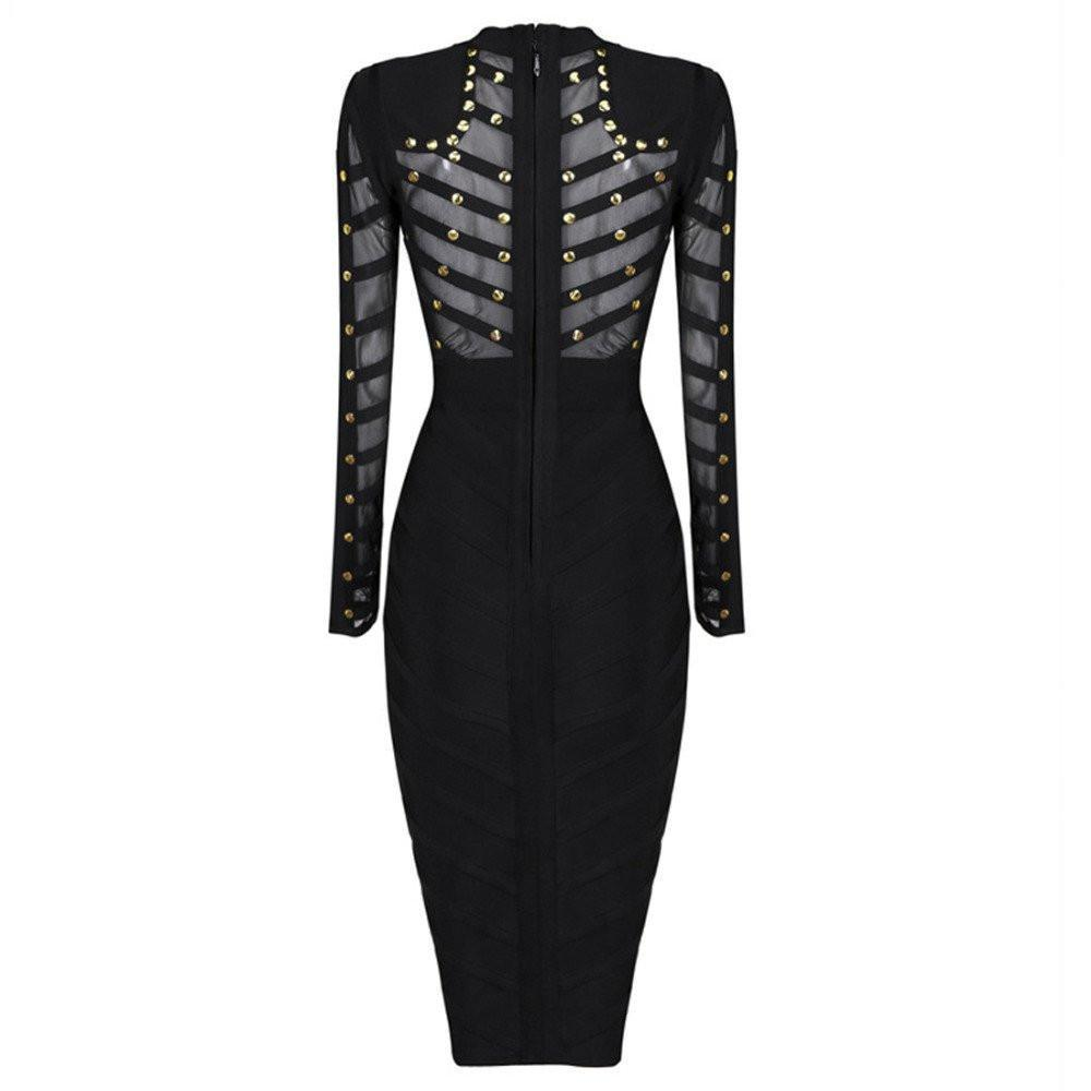 Long Sleeve Studded Bandage Dress-Dress-SheSimplyShops