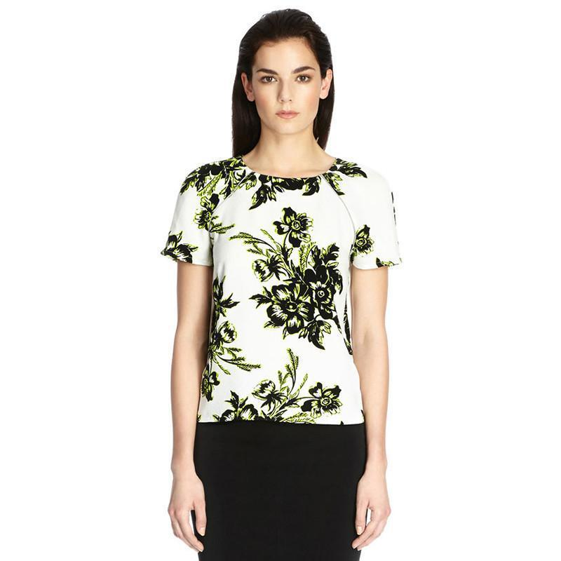 HDY Haoduoyi Fashion Floral Printe Tee Women Short Sleeve Crew Neck Female Pullover Tops Slim Loose Zippers Chiffon T-shirt-SHIRTS-SheSimplyShops