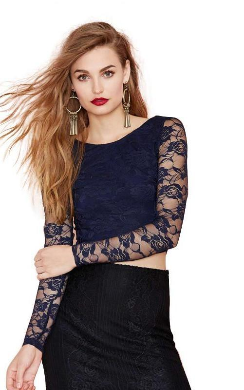 HDY Haoduoyi Fashion Navy Crop Tops Women Long Sleeve O-neck Lace Contrast Women T-shirts Backless Sheer Slim Sexy Casual Tees-SHIRTS-SheSimplyShops