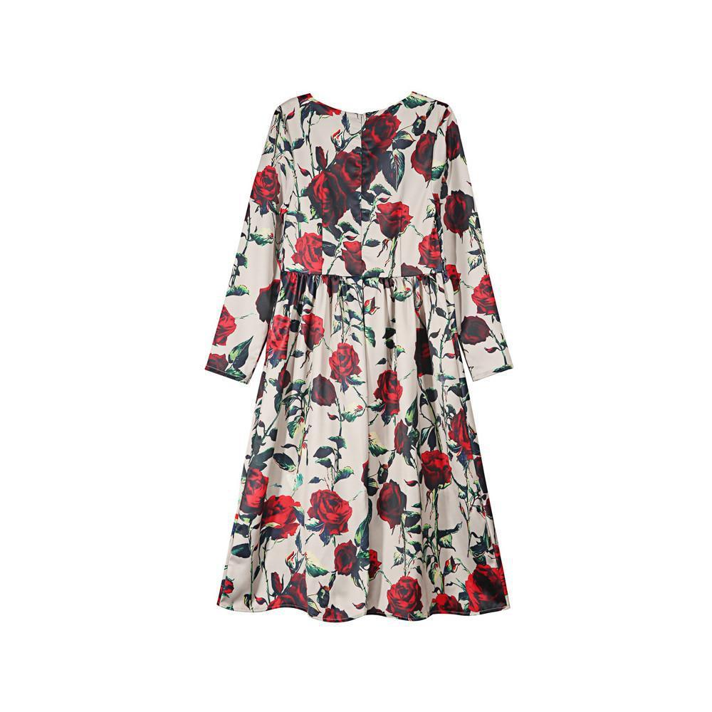 HDY Haoduoyi Floral Printed Fashion Midi Dress Women Long Sleeve Crew Neck Female A-line Dress Slim Loose Pleated Casual Dress-Dress-SheSimplyShops