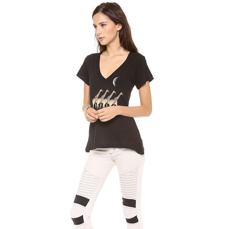 HDY Haoduoyi Fashion Black Tees Women Short Sleeve V-neck Female Pullover Tops Sweet Slim Loose Printed Casual T-shirt-SHIRTS-SheSimplyShops