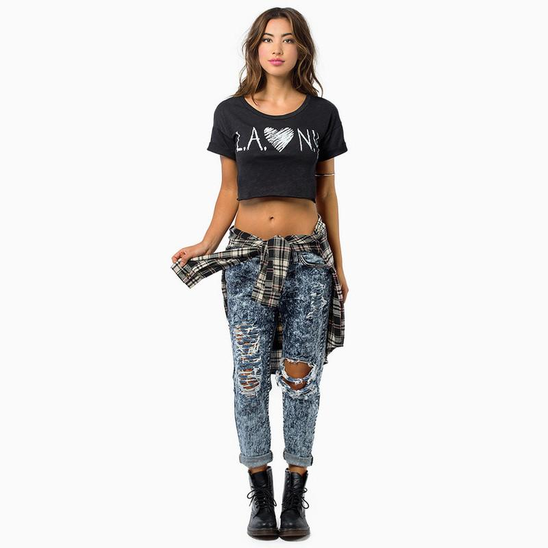 HDY Haoduoyi Fashion Black Women T-shirts Crew Neck Short Sleeve Printed Slim Crop Tops Women Soft Casual Basic Pullovers Tees-SHIRTS-SheSimplyShops