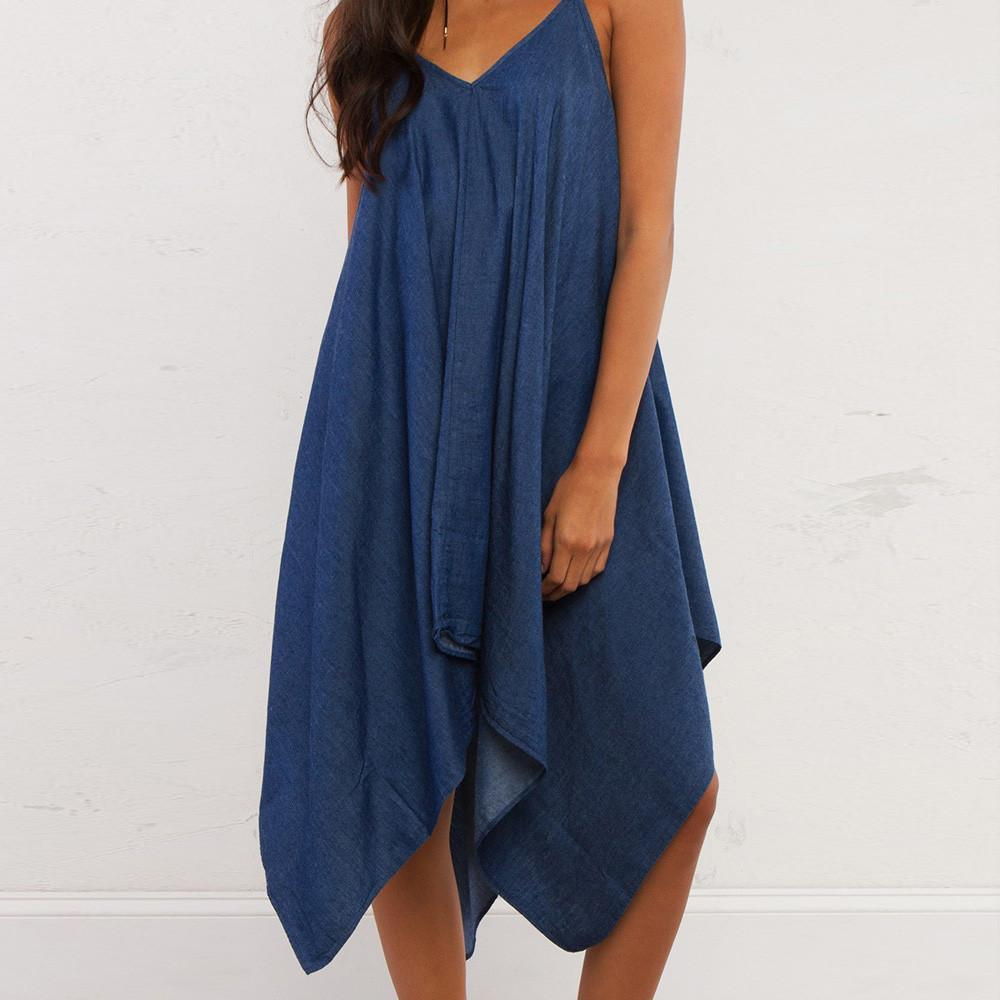 Solid Color Dresses Women Backless Off Shoulder Loose Midi Dress Street Casual Halter Denim Dress Vestidos-Dress-SheSimplyShops