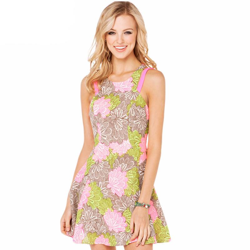 HDY Haoduoyi Floral Printed Fashion Mini Dress Women Sleeveless Cold Shoulder Female A-line Dress Slim Backless Casual Dress-Dress-SheSimplyShops