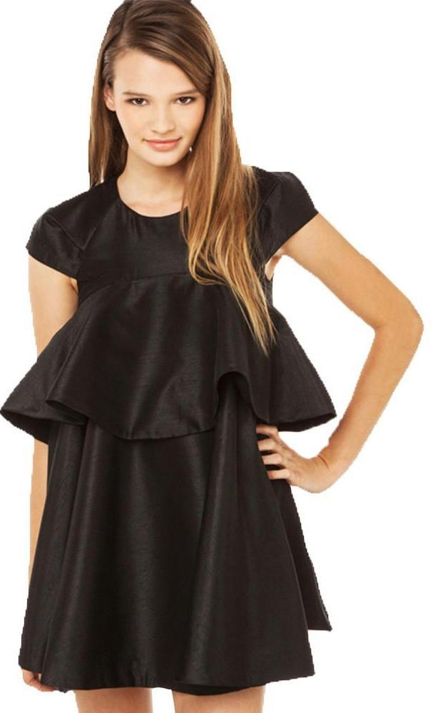 HDY Haoduoyi Solid Black Woman Mini Dresses O-neck Short Sleeve Zippre Back Straight Dresses Woman Ruffle Front Casual Dresses-Dress-SheSimplyShops