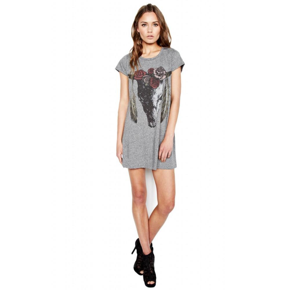 HDY Haoduoyi Animal Printed Dresses For Women Gray O Neck Short Sleeve Mini Dress Casual Brief Style Loose Dress Vestidos-Dress-SheSimplyShops