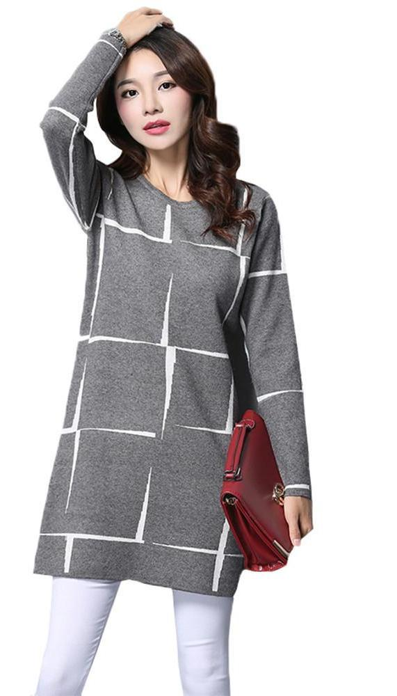 HDY Haoduoyi Fashion Gray Women Mini Dresses Long Sleeve Crew Neck High Waist Casual Dress Women Knitted Loose Dress Vestidos-Dress-SheSimplyShops