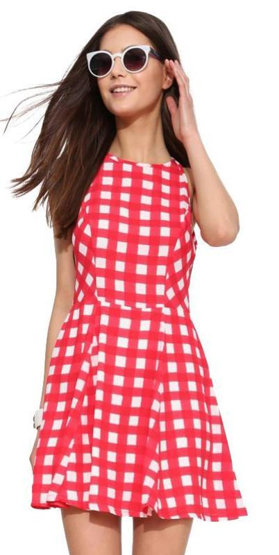 HDY Haoduoyi Plaid Fashion Mini Dress Women Sleeveless O-neck Women A-Line Dress Sexy Slim Cold Shoulder Zippers Casual Dress-Dress-SheSimplyShops