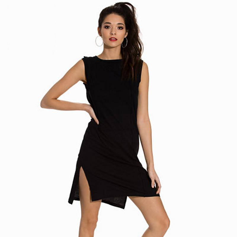 HDY Haoduoyi Solid Color Women Mini Dresses Sleeveless Crew Neck High Waist Party Dress Women Split Side Bodycon Dress Vestidos-Dress-SheSimplyShops