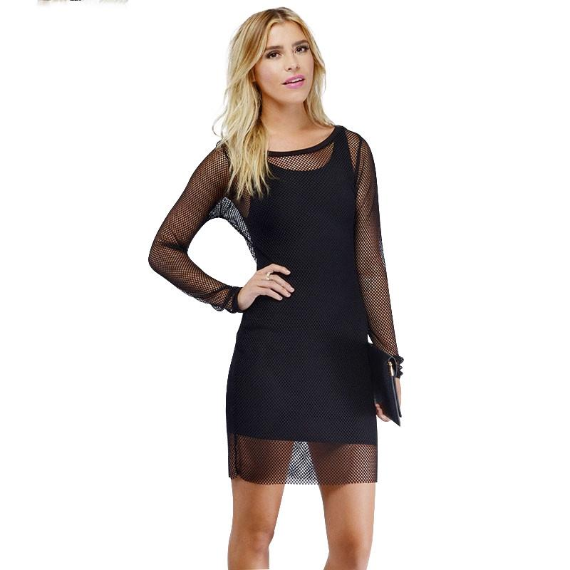 HDY Haoduoyi New Solid 2 Colors Women Mini Dress Long Sleeve Crew Neck Sheer Bodycon Dress Women Sexy Backless Party Club Dress-Dress-SheSimplyShops