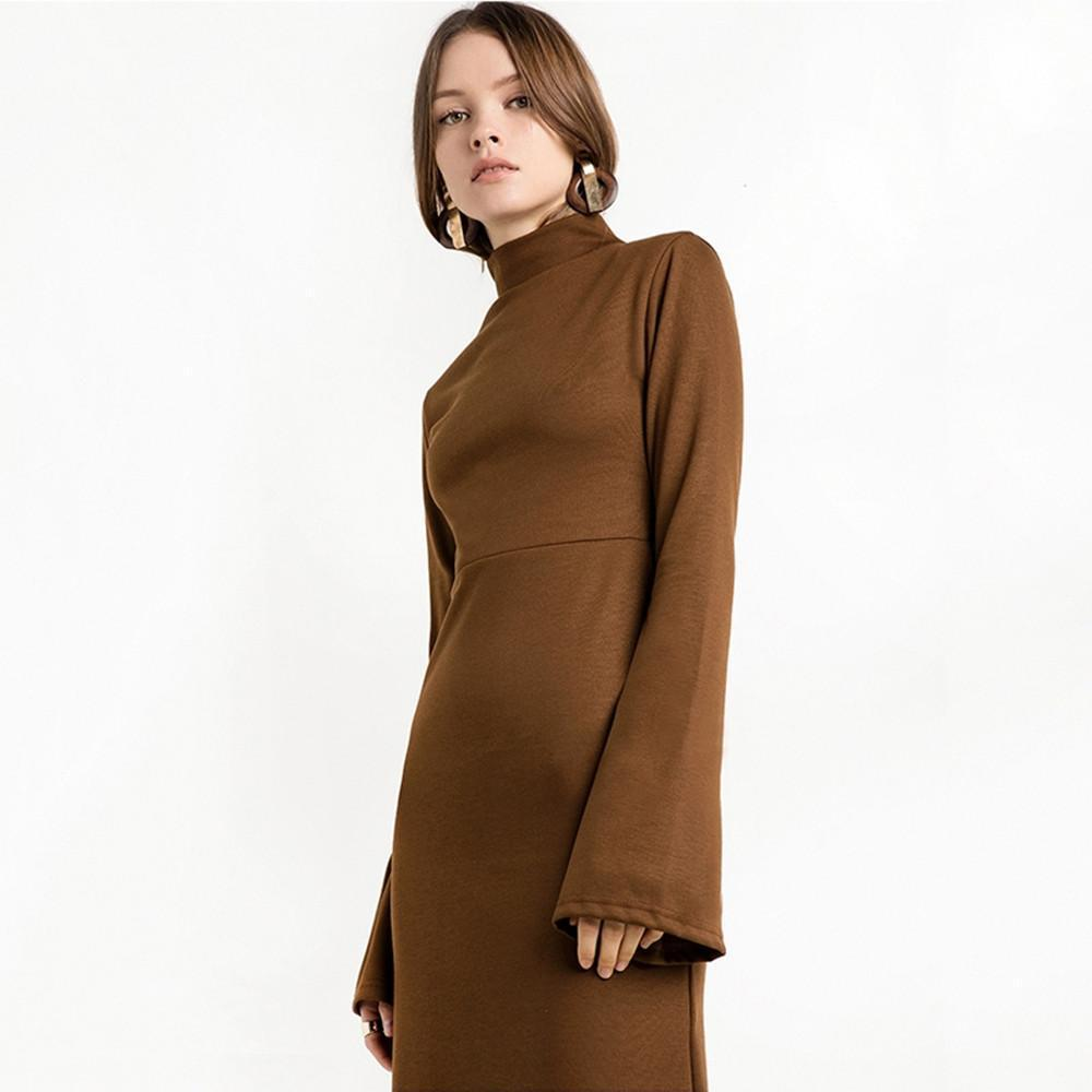 Vintage Slim Long Sleeve Turtleneck Bodycon Dress-Dress-SheSimplyShops