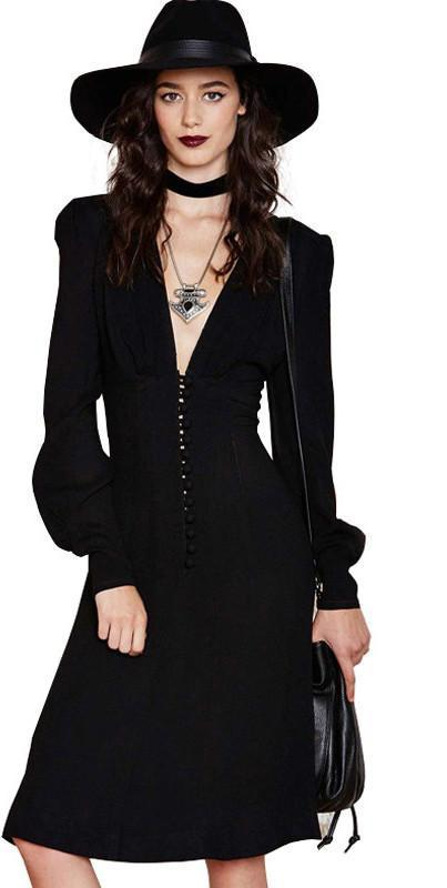 HDY Haoduoyi Fashion Midi Dress Women Long Sleeve Deep V-neck Female Straight Dress Slim Solid Black Party Dress Vestidos-Dress-SheSimplyShops