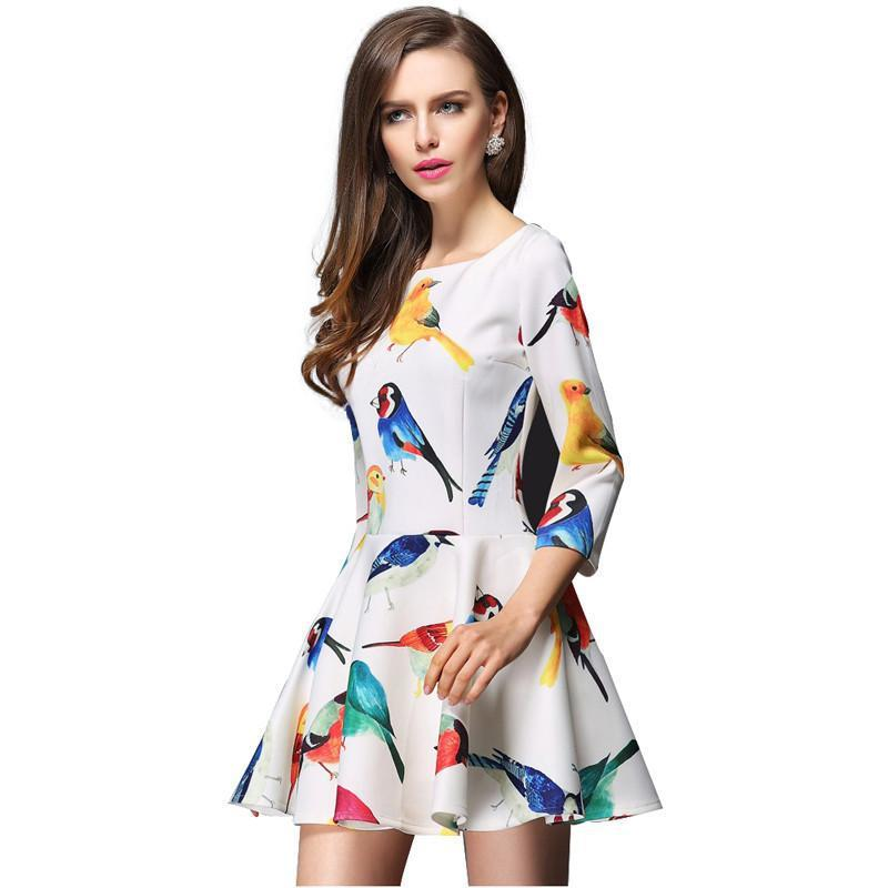 HDY Haoduoyi White/Black Fashion Mini Dress Women Half Sleeve O-neck Femal High Waist A-line Dress Slim Printed Casual Dress-Dress-SheSimplyShops