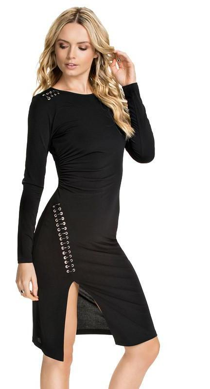 HDY Haoduoyi Fashion Solid Black Midi Dress Women Long Sleeve Crew Neck Female Dress Silm Punk Style Split Bodycon Dress-Dress-SheSimplyShops
