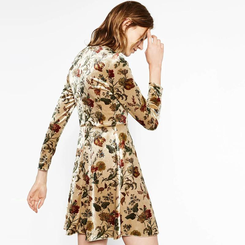 Multi Fashion Mini Dress Women Long Sleeve O-neck Floral Printed Women A-Line Dress High Waist Slim Casual Dress-Dress-SheSimplyShops